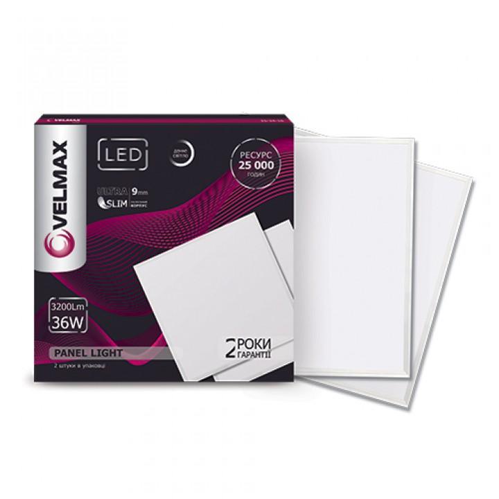 LED светильник VELMAX V-UPS, 36W, панель, 595x595mm, 6200K, 3200Lm, с блоком питания
