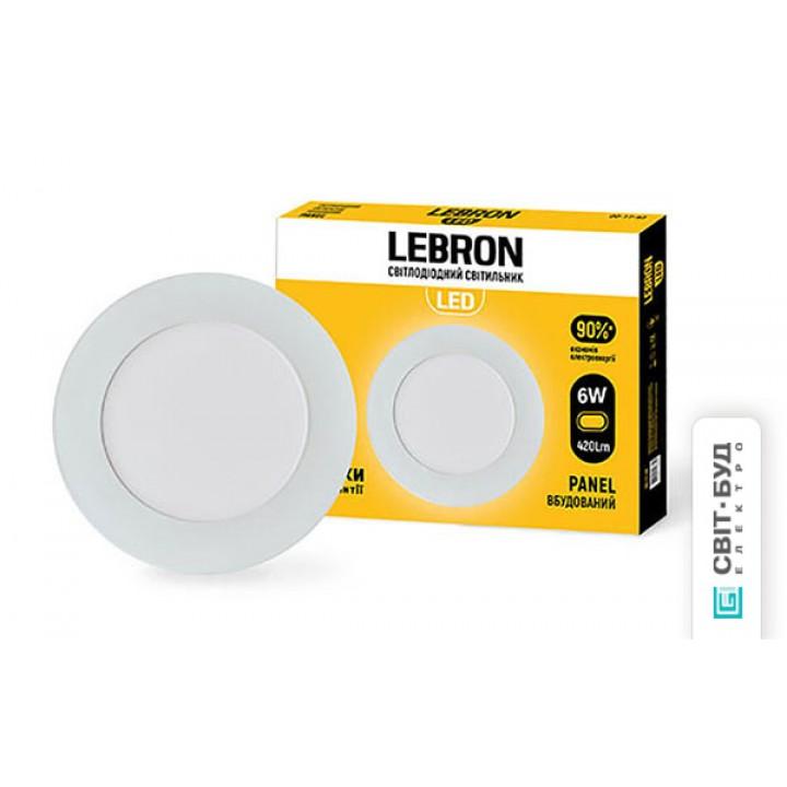 LED светильник Lebron L-PR-641, 6W, встроенный, d.120x19mm, 4100K, 420Lm, угол 120 °