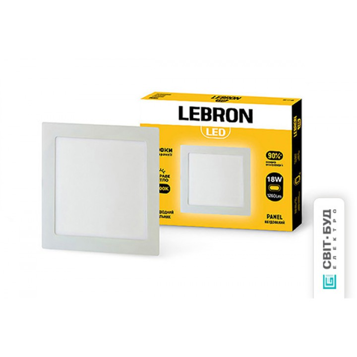 LED светильник Lebron L-PS-1841, 18W, встроенный, 205x205x19mm, 4100K, 1260Lm, угол 120 °