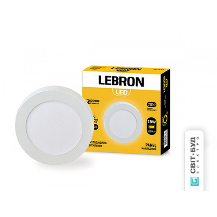 LED светильник Lebron L-PRS-1841, 18W, накладной, d.220x36mm, 4100K, 1260Lm, угол 120 °