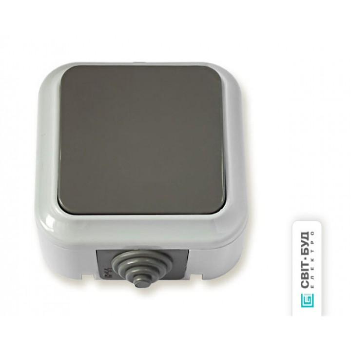 """Выключатель 1 кл, 6А, серый, (IP54), """"Пралеска Аква"""""""