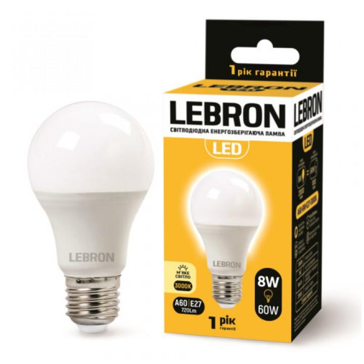 LED лампа Lebron L-A60, 8W, E27, 3000K, 700Lm, угол 240 °