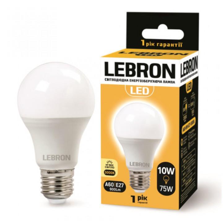 LED лампа Lebron L-A60, 10W, Е27, 3000K, 850Lm, угол 240 °