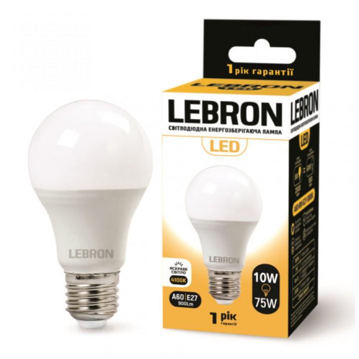 LED лампа Lebron L-A60, 10W, Е27, 4100K, 850Lm, угол 240 °