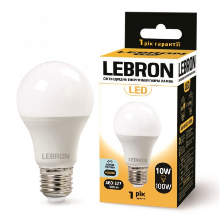 LED лампа Lebron L-A60, 10W, Е27, 6500K, 850Lm, угол 240 °