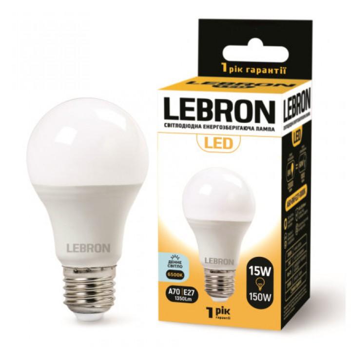 LED лампа Lebron L-A60, 15W, Е27, 6500K, 1350Lm, угол 240 °