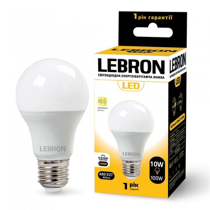 LED лампа LEBRON L-A60, 10W, Е27, 4100K, 900Lm, акустический датчик