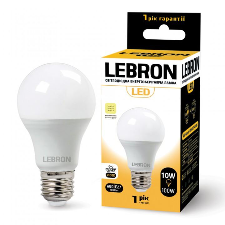 LED лампа LEBRON L-A60, 10W, Е27, 4100K, 900Lm, СВЧ датчик движения
