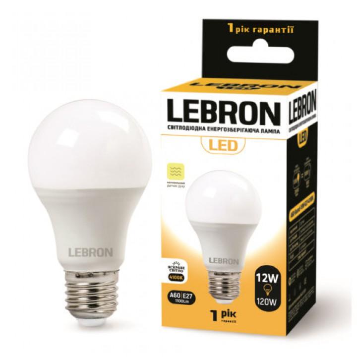 LED лампа Lebron L-A60, 12W, Е27, 4100K, 1100Lm, СВЧ датчик движения