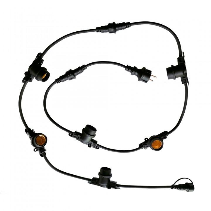 Светильник (гирлянда) из кабеля и цоколей VELMAX, 10м, 10шт-Е27