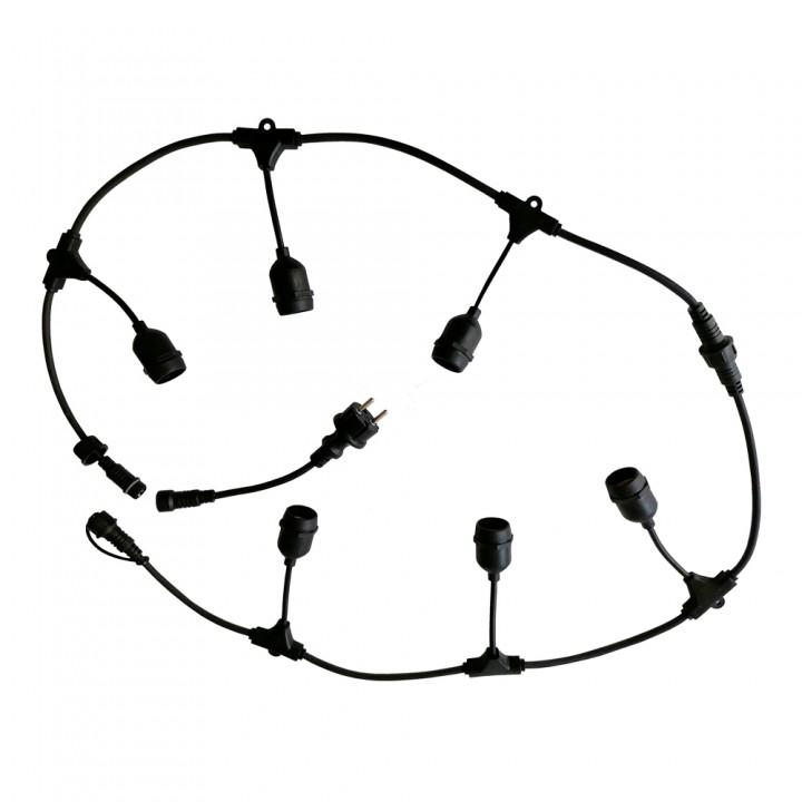 Светильник (гирлянда) из кабеля и цоколей на подвеске VELMAX, 5м, 5шт-Е27